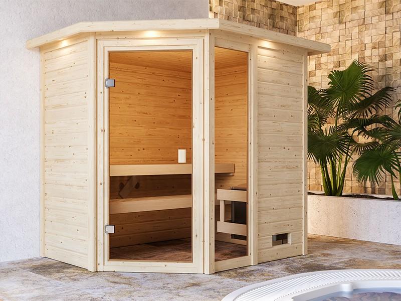 Woodfeeling 38 mm Massivholzsauna Jada - für niedrige Räume - mit Dachkranz