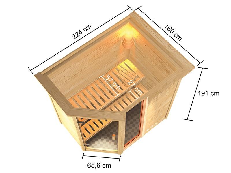 Woodfeeling 38 mm Massivholzsauna Jada - für niedrige Räume - mit Dachkranz - 9kW Saunaofen mit externer Steuerung Easy