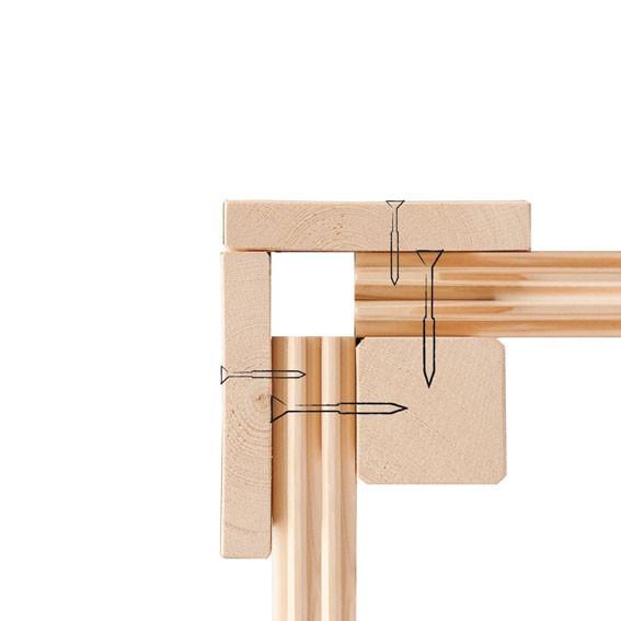 Woodfeeling 38 mm Massivholz Sauna Jada Classic  inkl. Ofen 9 kW Bio externe Steuerung mit Dachkranz - für niedrige Räume