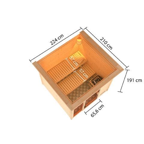 Woodfeeling 38 mm Massivholz Sauna Jutta Classic mit Dachkranz ohne Ofen - für niedrige Räume