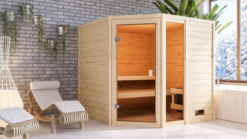 Woodfeeling 38 mm Massivholz Sauna Tabea Classic ohne Ofen - für niedrige Räume
