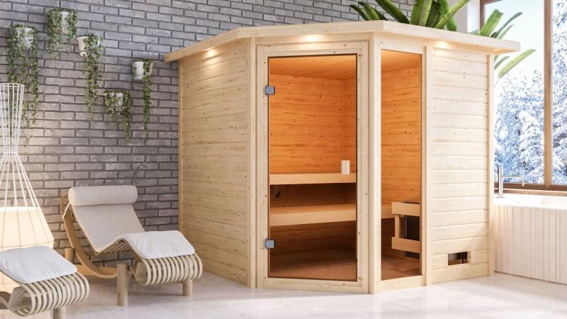 Woodfeeling 38 mm Massivholz Sauna Tabea Classic mit Dachkranz ohne Ofen - für niedrige Räume