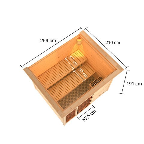 Woodfeeling 38 mm Massivholz Sauna Kiana Classic  inkl. Ofen 9 kW Bio externe Steuerung mit Dachkranz - für niedrige Räume