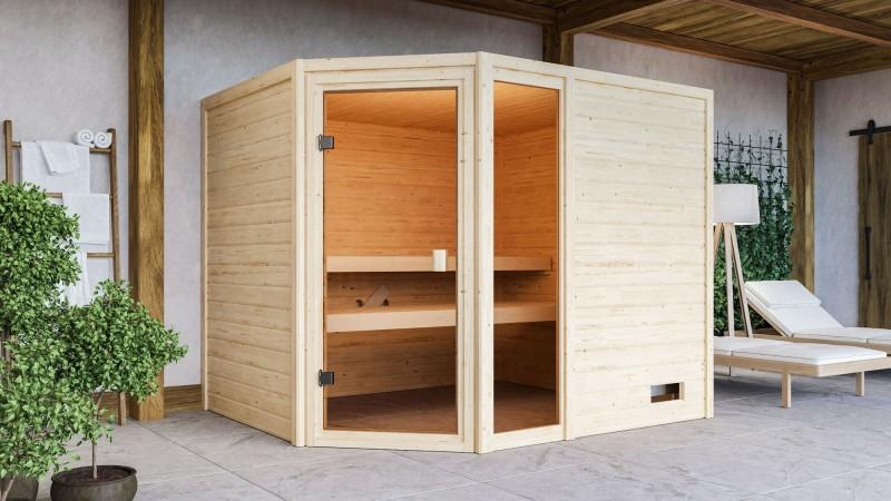Woodfeeling 38 mm Massivholz Sauna Lola Classic ohne Ofen - für niedrige Räume