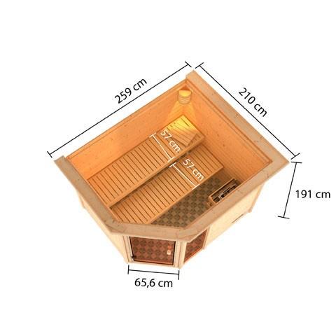 Woodfeeling 38 mm Massivholz Sauna Lola Classic  inkl. Ofen 9 kW integr. Steuerung - für niedrige Räume
