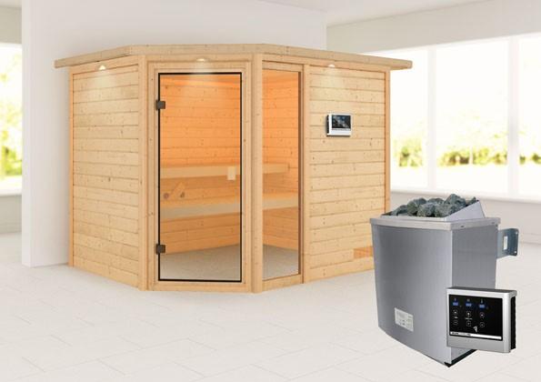 Woodfeeling 38 mm Massivholz Sauna Lola Classic  inkl. Ofen 9 kW externe Steuerung mit Dachkranz - für niedrige Räume