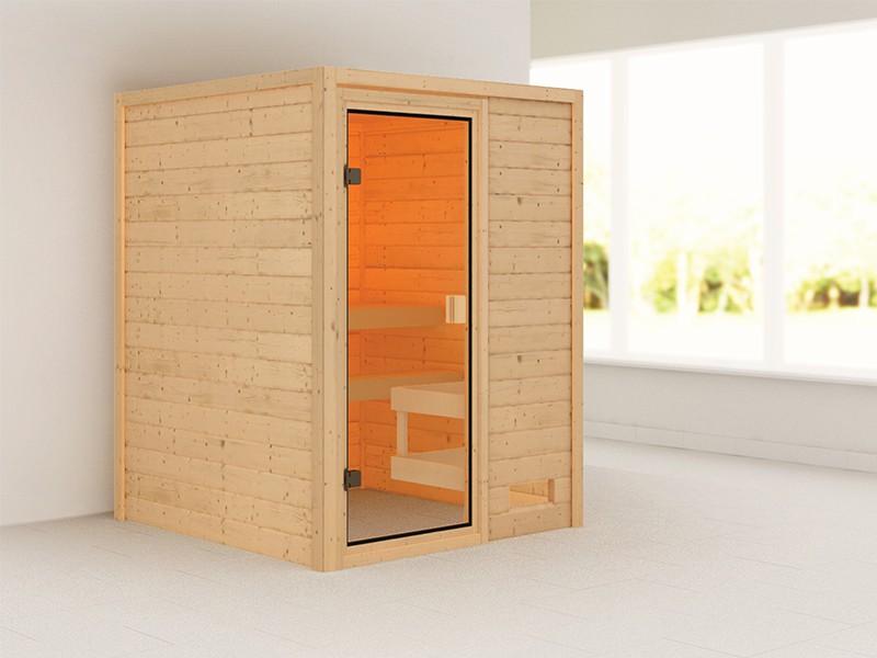 Woodfeeling 38 mm Massivholzsauna Sandra - für niedrige Räume - ohne Dachkranz