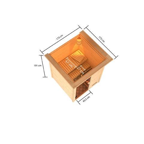 Woodfeeling 38 mm Massivholz Sauna Sandra Classic ohne Ofen mit Dachkranz - für niedrige Räume