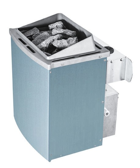 Woodfeeling 38 mm Massivholz Sauna Sandra Classic  inkl. Ofen 9 kW integr. Steuerung mit Dachkranz - für niedrige Räume
