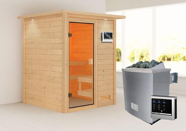 Woodfeeling 38 mm Massivholz Sauna Sandra Classic  inkl. Ofen 9 kW externe Steuerung mit Dachkranz - für niedrige Räumew
