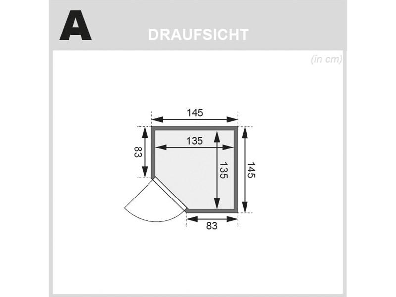 Woodfeeling 38 mm Massivholzsauna Antonia - für niedrige Räume - ohne Dachkranz - Modell 2021/2022