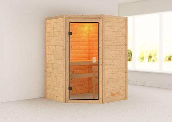 Woodfeeling 38 mm Massivholz Sauna Antonia Classic ohne Ofen - für niedrige Räume