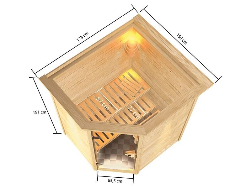 Woodfeeling 38 mm Massivholzsauna Antonia - für niedrige Räume - mit Dachkranz