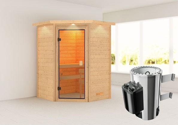 Woodfeeling 38 mm Massivholz Sauna Antonia Classic  inkl. Ofen 3,6 kW integr. Steuerung mit Dachkranz - für niedrige Räume