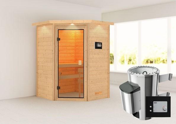Woodfeeling 38 mm Massivholz Sauna Antonia Classic  inkl. Ofen 3,6 kW externe Steuerung mit Dachkranz - für niedrige Räume
