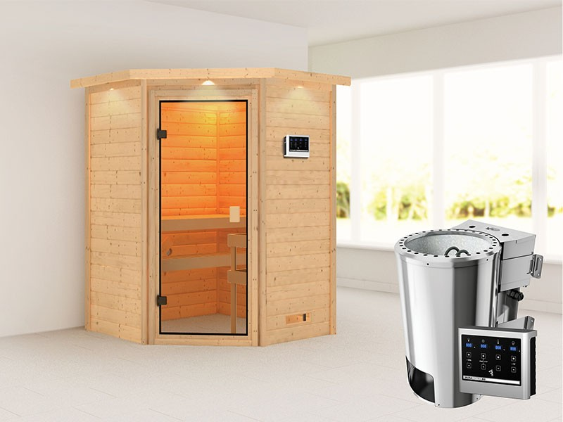 Woodfeeling 38 mm Massivholzsauna Antonia - für niedrige Räume - mit Dachkranz - 3,6kW Plug&Play Bio-Kombiofen mit externer Steuerung Easy Bio