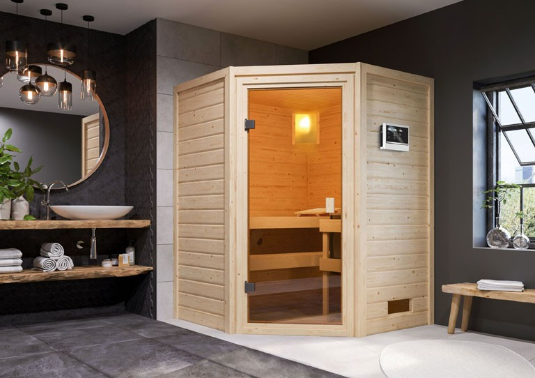 Woodfeeling 38 mm Massivholz Sauna Antonia Classic  inkl. Ofen 9 kW externe Steuerung - für niedrige Räume