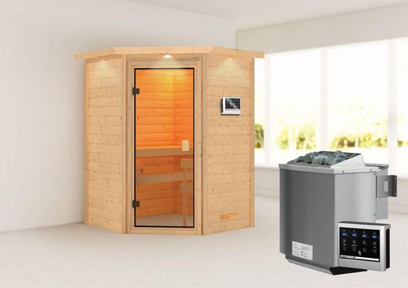Woodfeeling 38 mm Massivholz Sauna Antonia Classic  inkl. Ofen 9 kW Bio externe Steuerung mit Dachkranz - für niedrige Räume