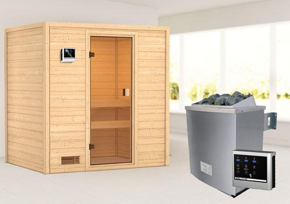 Woodfeeling 38 mm Massivholz Sauna SelenaClassic  inkl. Ofen 9 kW externe Steuerung - für niedrige Räume