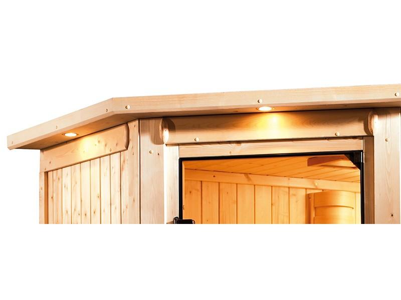 Woodfeeling 38 mm Massivholzsauna Selena - für niedrige Räume - mit Dachkranz - 3,6kW Plug&Play Bio-Kombiofen mit externer Steuerung Easy Bio