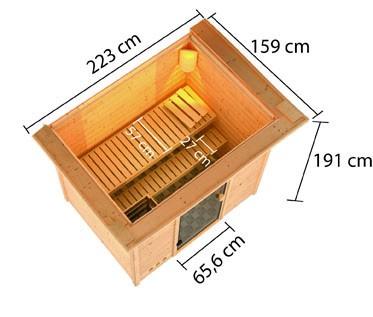 Woodfeeling 38 mm Massivholz Sauna Selena Classic  inkl. Ofen 9 kW externe Steuerung mit Dachkranz - für niedrige Räume