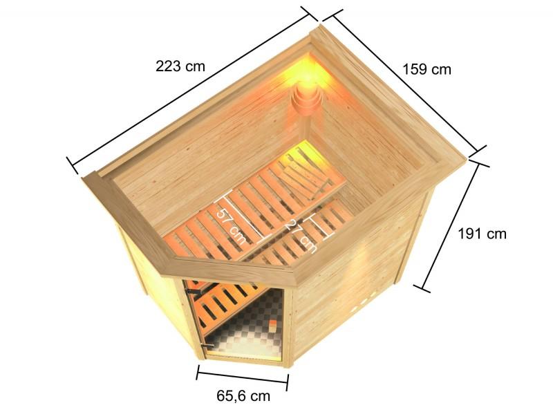 Woodfeeling 38 mm Massivholz Sauna Jella Classic  inkl. Ofen 3,6 kW integr. Steuerung mit Dachkranz - für niedrige Räume