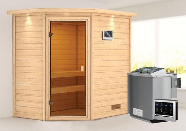 Woodfeeling 38 mm Massivholz Sauna Jella Classic  inkl. Ofen 9 kW Bio externe Steuerung mit Dachkranz - für niedrige Räume