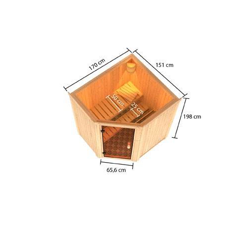 Woodfeeling 68 mm Massivholz Sauna Faurin Classic  inkl. Ofen 9 kW externe Steuerung