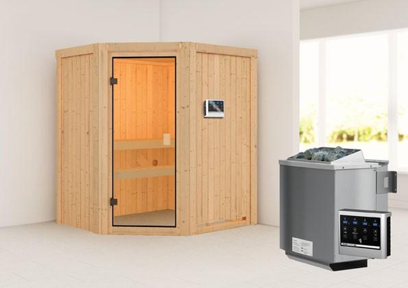 Woodfeeling 68 mm Massivholz Sauna Faurin Classic  inkl. Ofen 9 kW Bio externe Steuerung
