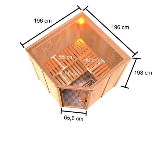Woodfeeling 68 mm Systembau Sauna Kotka Classic  inkl. Ofen 9 kW externe Steuerung