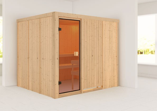 Woodfeeling 68 mm Systembau Sauna Nybro Classic ohne Ofen