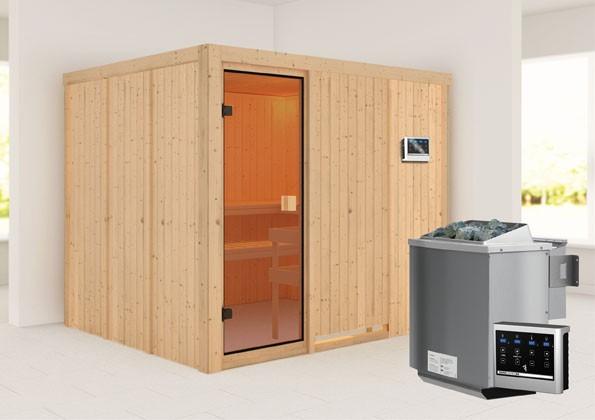 Woodfeeling 68 mm Systembau Sauna Nybro Classic  inkl. Ofen 9 kW Bio externe Steuerung