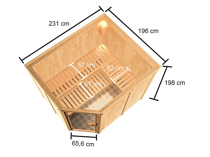 Woodfeeling 68 mm Systembausauna Horna - 9kW Saunaofen mit externer Steuerung Easy