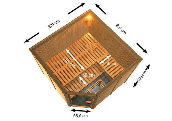 Woodfeeling 68 mm Systembau Sauna Ystad Classic  inkl. Ofen 9 kW integr. Steuerung