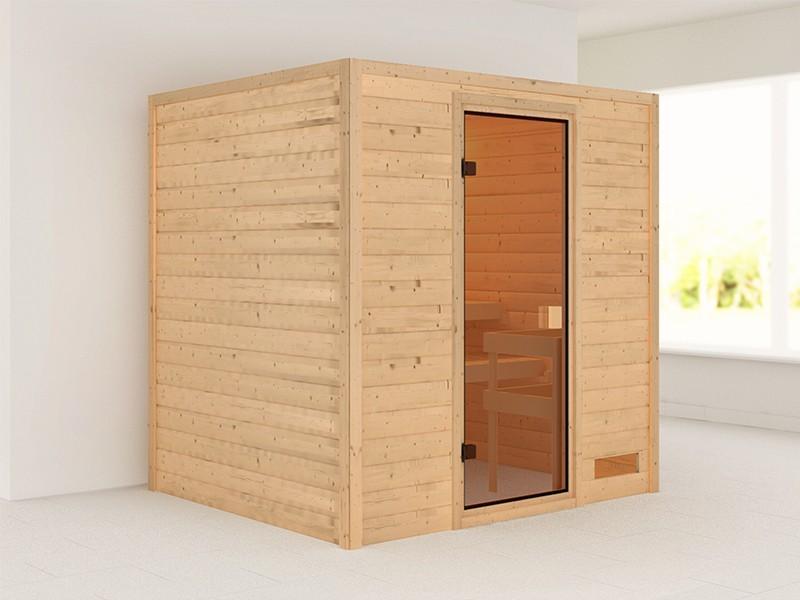 Woodfeeling 38 mm Massivholzsauna Adelina - für niedrige Räume - ohne Dachkranz - Modell 2021/2022