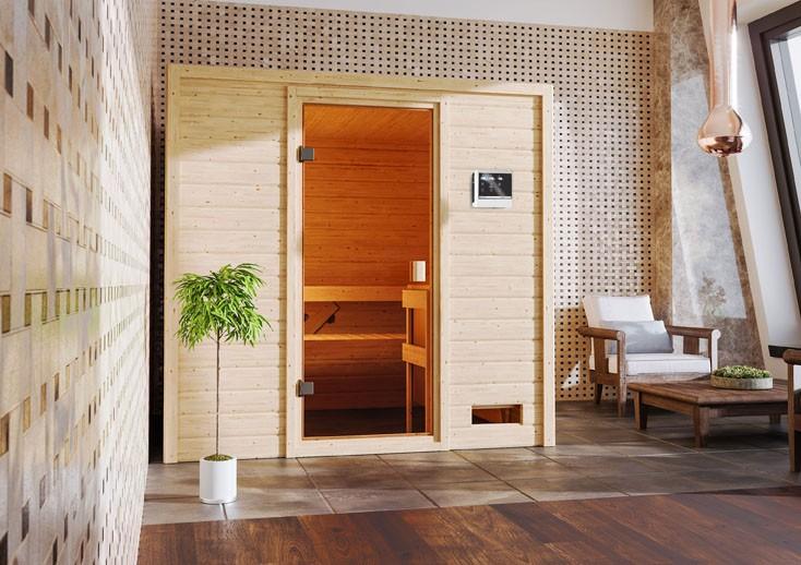 Woodfeeling 38 mm Massivholz Sauna Adelina Classic ohne Ofen - für niedrige Räume