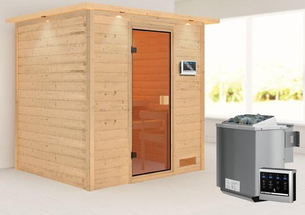 Woodfeeling 38 mm Massivholz Sauna Adelina Classic  inkl. Ofen 9 kW Bio externe Steuerung mit Dachkranz - für niedrige Räume