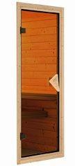 Woodfeeling 38 mm Massivholz Sauna Lisa Classic  inkl. Ofen 9 kW Bio externe Steuerung mit Dachkranz