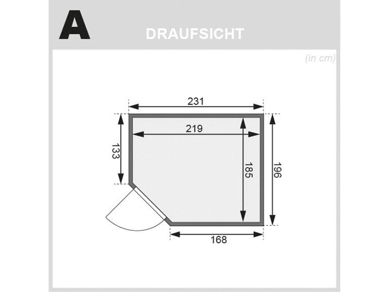 Woodfeeling 38 mm Massivholzsauna Lisa - Eckeinstieg - Ganzglastür graphit - ohne Dachkranz