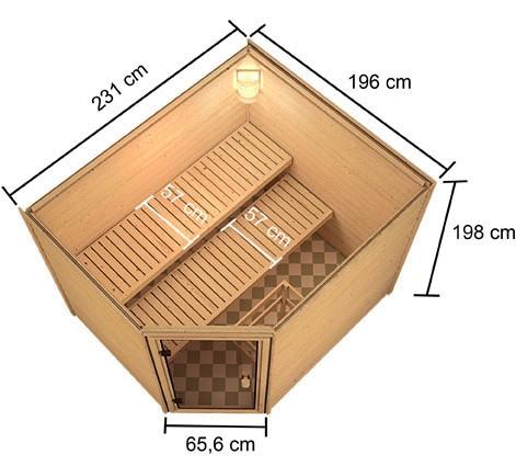 Woodfeeling 38 mm Massivholz Sauna Lisa Classic  inkl. Ofen 9 kW Bio externe Steuerung