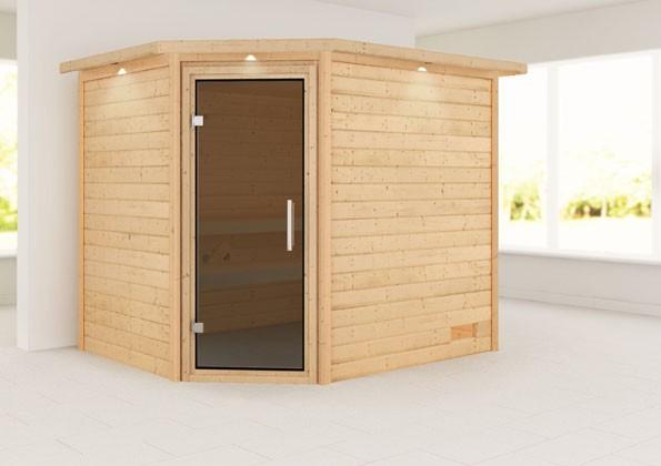 Woodfeeling 38 mm Massivholz Sauna Lisa Classic ohne Ofen mit Dachkranz