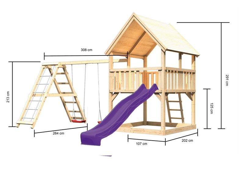 Karibu Spielturm Luis  Satteldach + Rutsche violett + Gerüst / Doppelschaukel