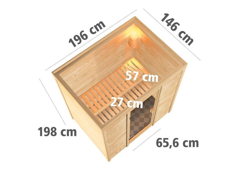 Aktionssauna: 38 mm Massivholzsauna Paamiut  mit Fronteinstieg - Klarglas Saunatür