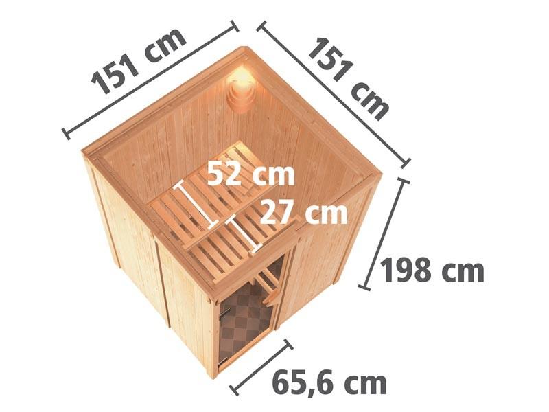 Aktionssauna: 68mm Systemsauna Nuuk mit Fronteinstieg – Klarglas Saunatür