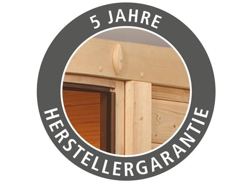 Aktionssauna: 68mm Systembausauna Thule mit Eckeinstieg - Klarglas Sauantür