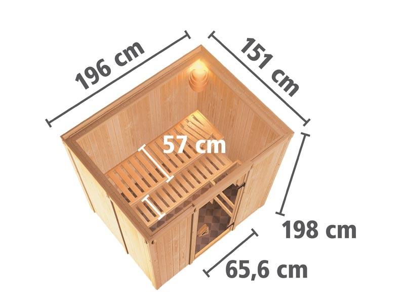 Aktionssauna: 68mm Systembausauna Prins mit Fronteinstieg - Klarglas Saunatür