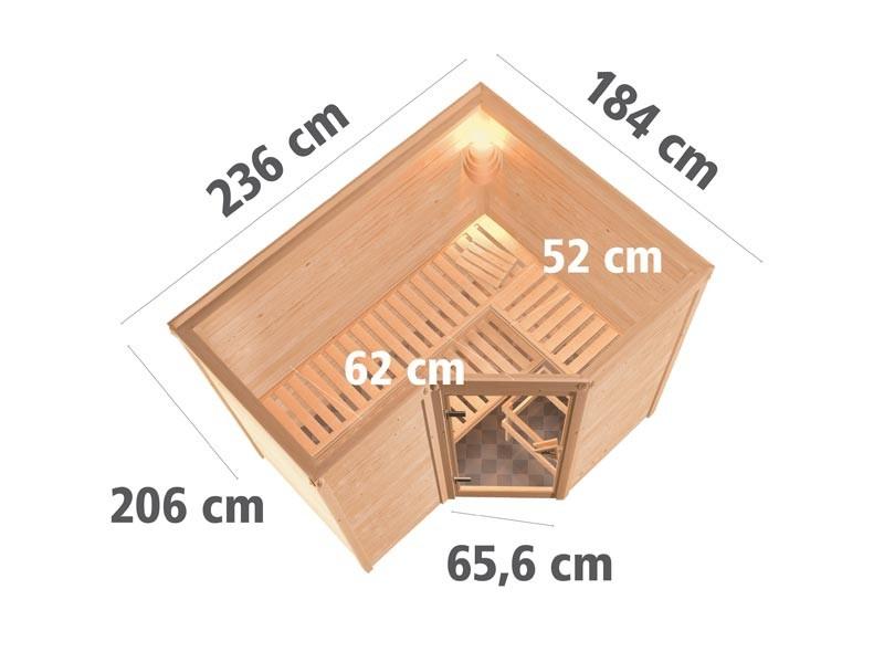 Aktionssauna: 40 mm Massivholzsauna Eureka mit Eckeinstieg - Klarglas Saunatür