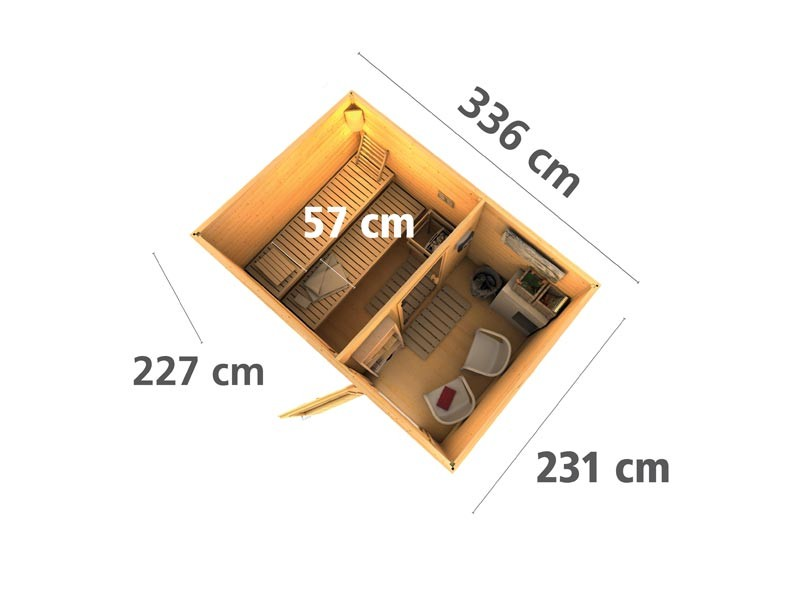 Aktionssaunahaus: 38 mm Systemsaunahaus Amund  mit Flachdach - naturbelassen