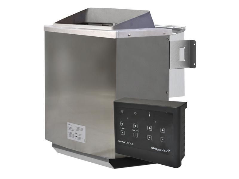 Aktion-Bio-Kombi-Saunaofen: 9 kW SET inkl. Steuergerät, Kabelsatz, Saunasteine