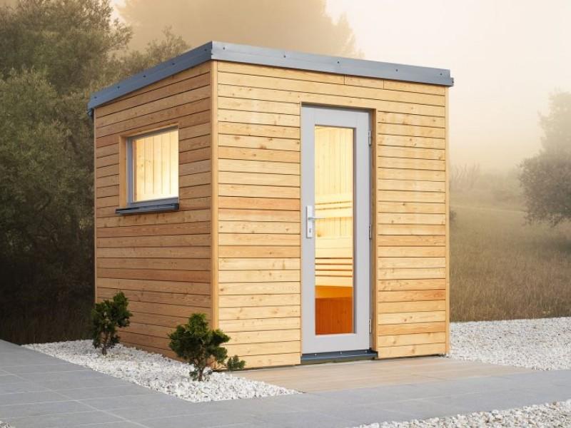 Infraworld Außensauna Luna 2 - Außenverkleidung mit Lärche-Fassadenprofile - mit Vorraum